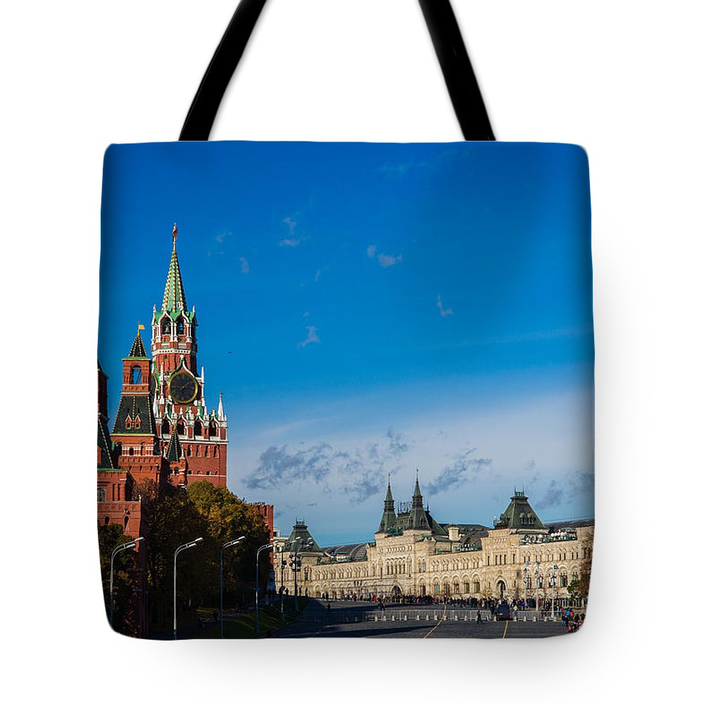 World Tote Bag featuring the photograph View Of Moscow Kremlin Towers And Red Square In Autumn by Alexander Senin