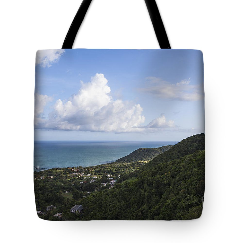 Built Structure Tote Bag featuring the photograph View Of Ocean And Punta Tuna In Puerto Rico by Bryan Mullennix