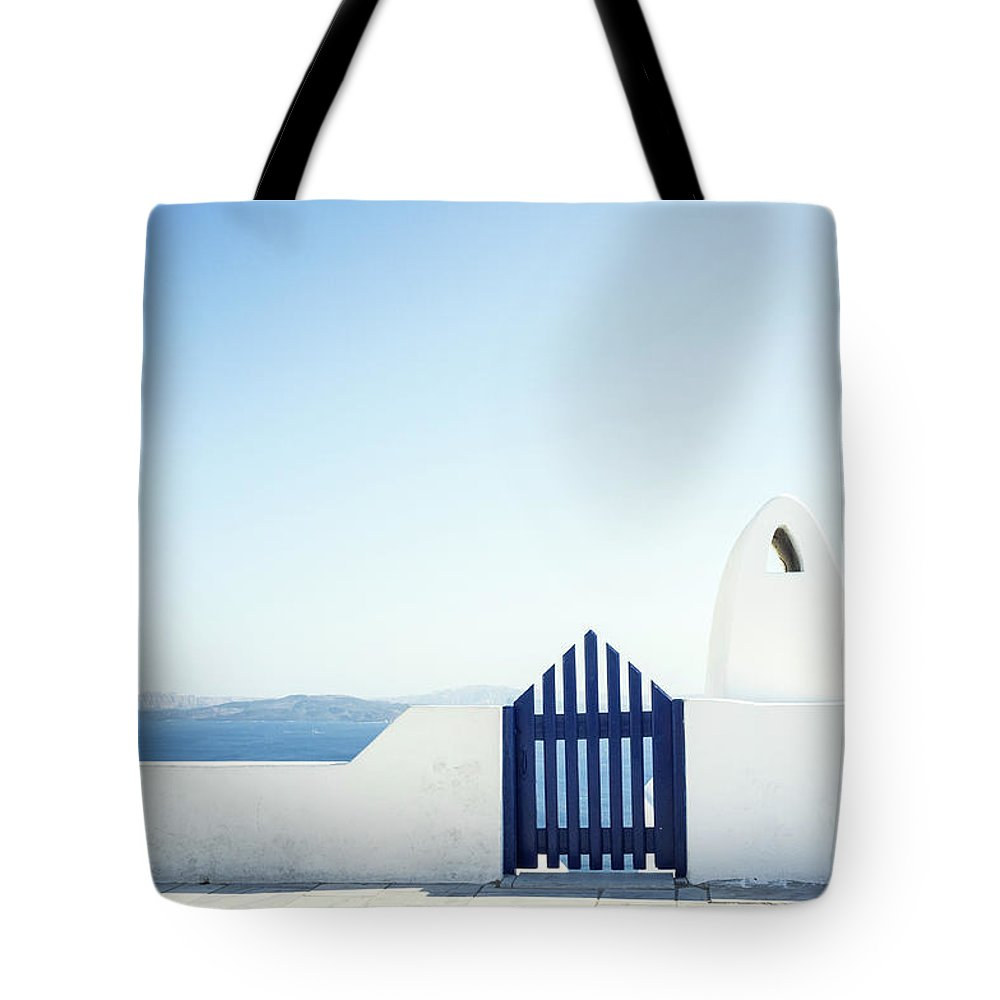 Scenics Tote Bag featuring the photograph View Of Ocean From Balcony, Greece by Gollykim
