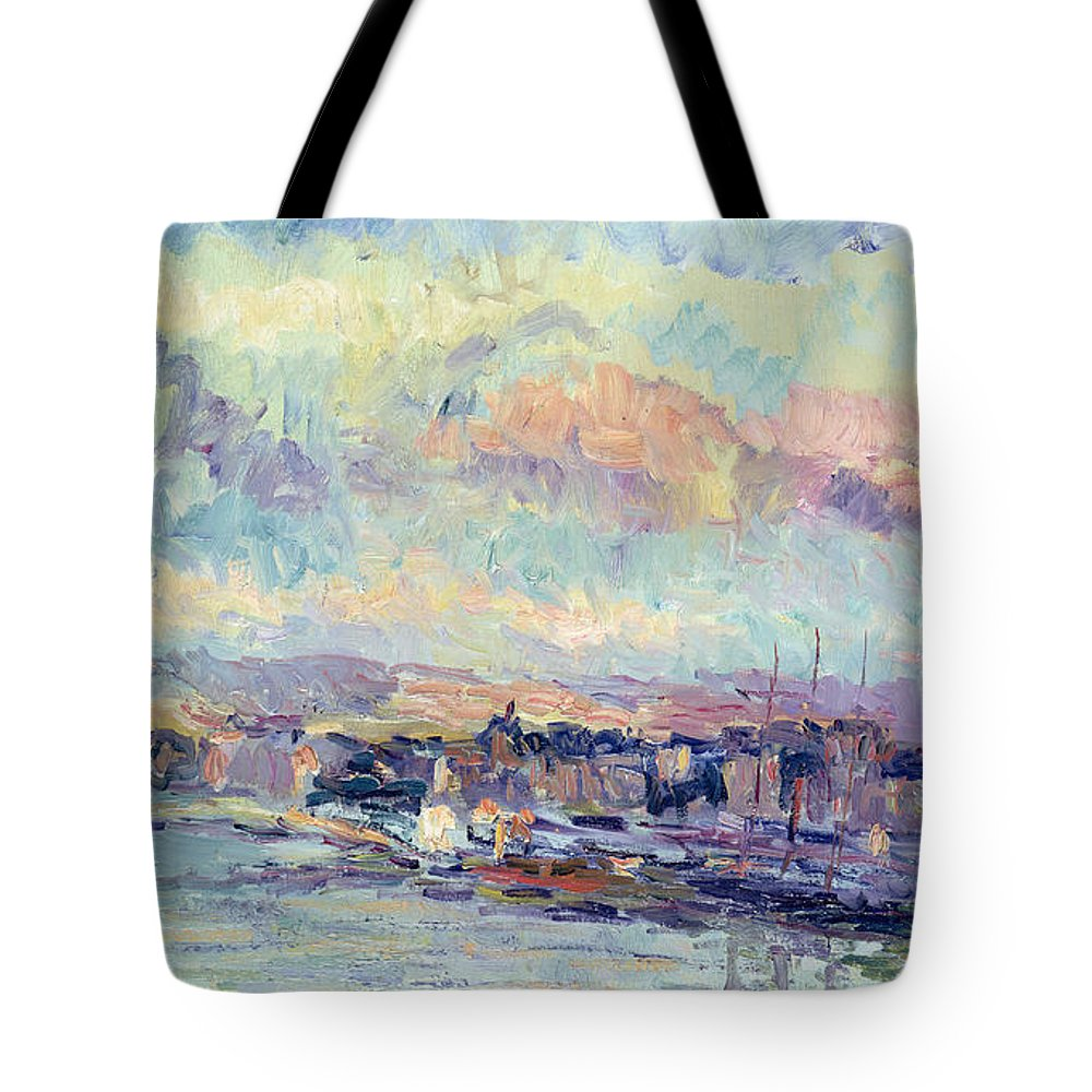 Impressionist Tote Bag featuring the painting View Of Paris by Albert Charles Lebourg