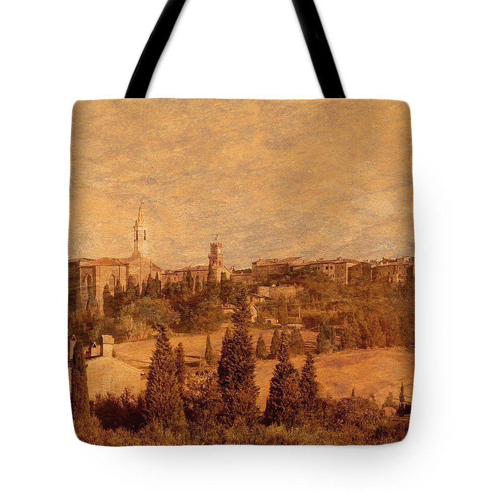 Pienza Tote Bag featuring the photograph View Of Pienza And The Tuscan Landscape by Greg Matchick