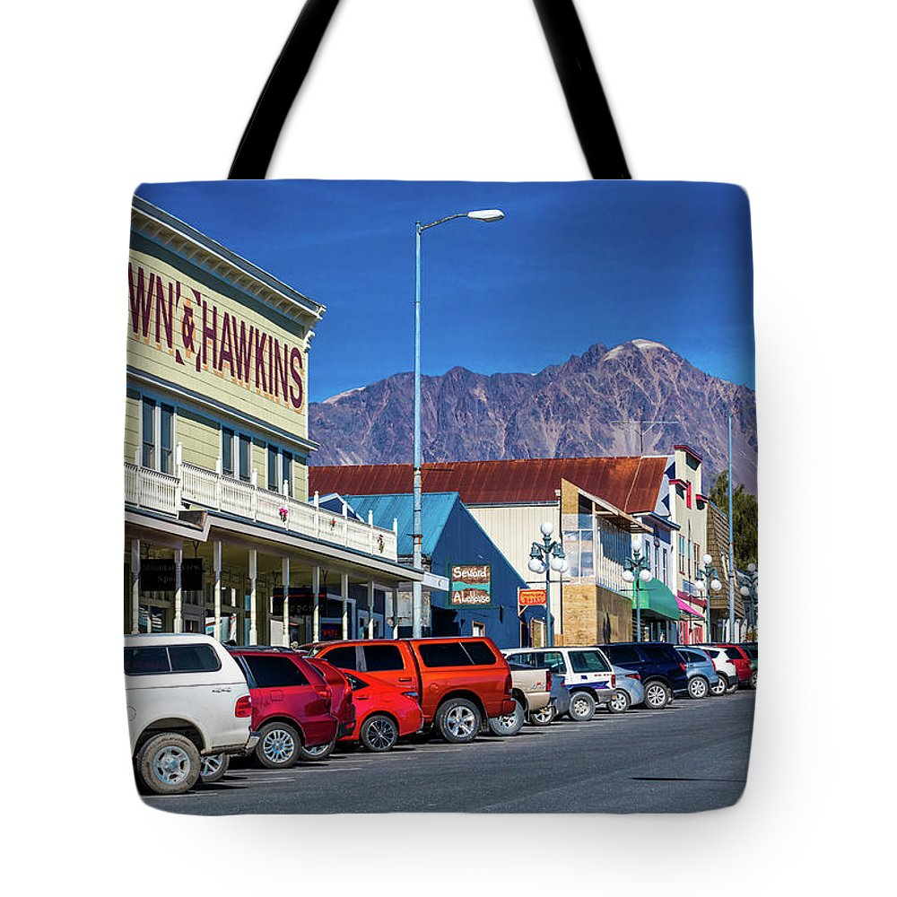 Photography Tote Bag featuring the photograph View Of Seward, Alaska Storefronts by Panoramic Images