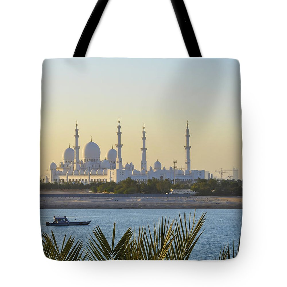 Cagnoni Tote Bag featuring the photograph View Of Sheikh Zayed Grand Mosque by Tania Cagnoni
