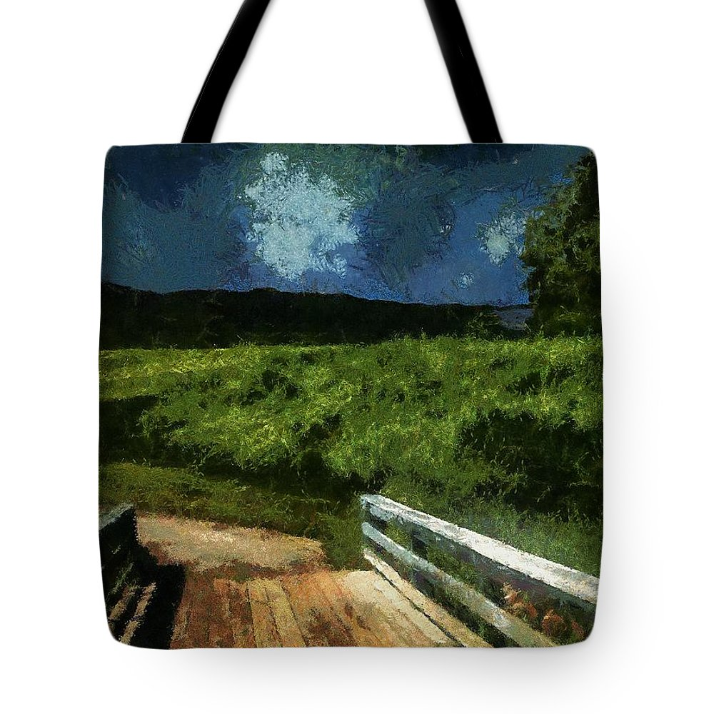 Bridge Tote Bag featuring the painting View Of The Night Sky From The Old Bridge by RC DeWinter