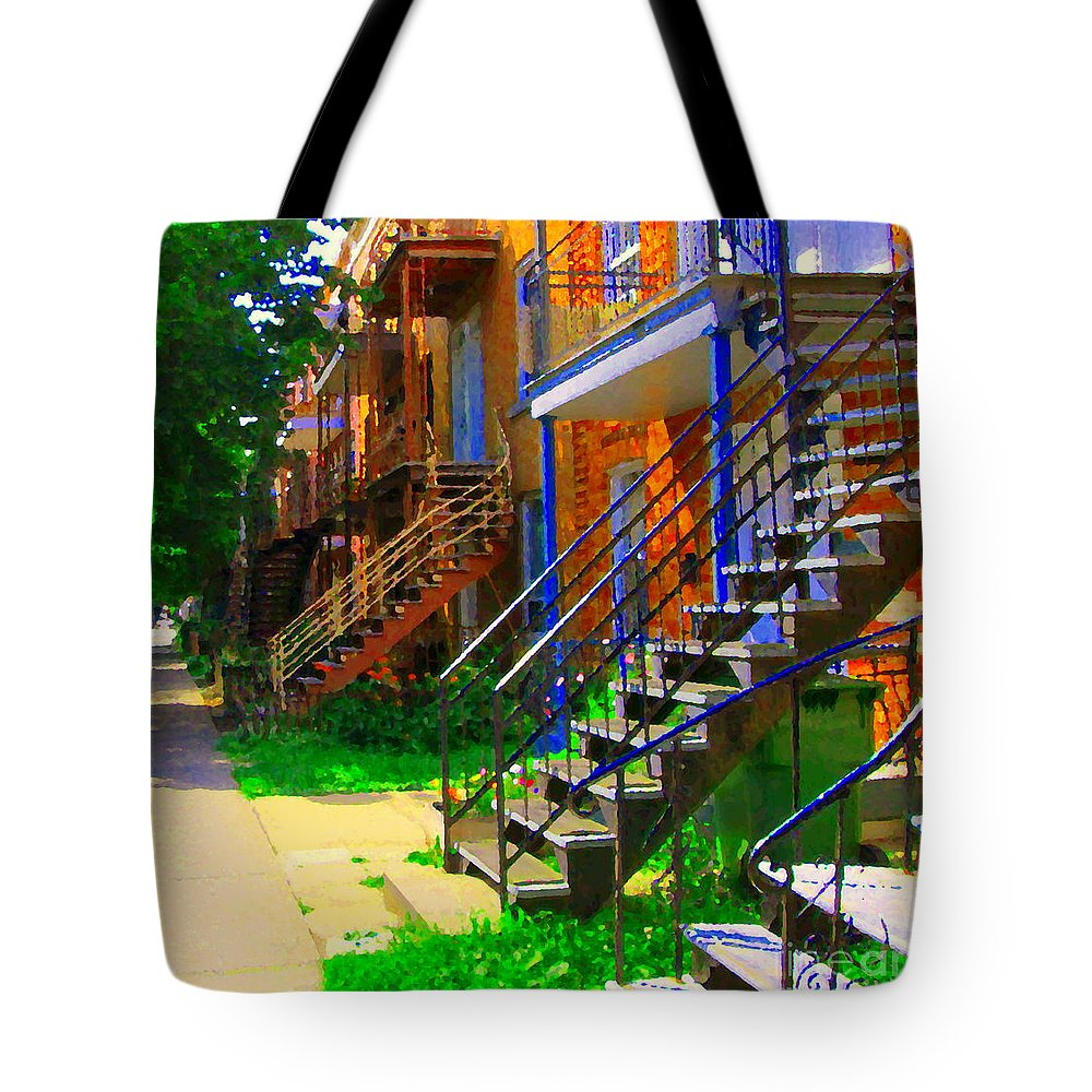 Montreal Tote Bag featuring the painting View Of Verdun Steps Stairs Staircases Winding Through Summer Montrealstreet Scenes Carole Spandau by Carole Spandau