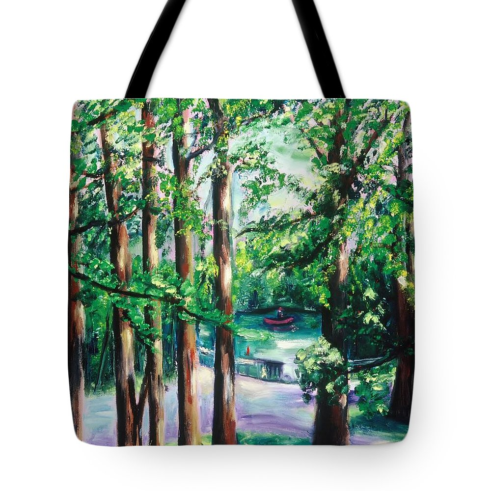 Oil Painting Tote Bag featuring the painting View Of Woodside Lake by Karen Francis