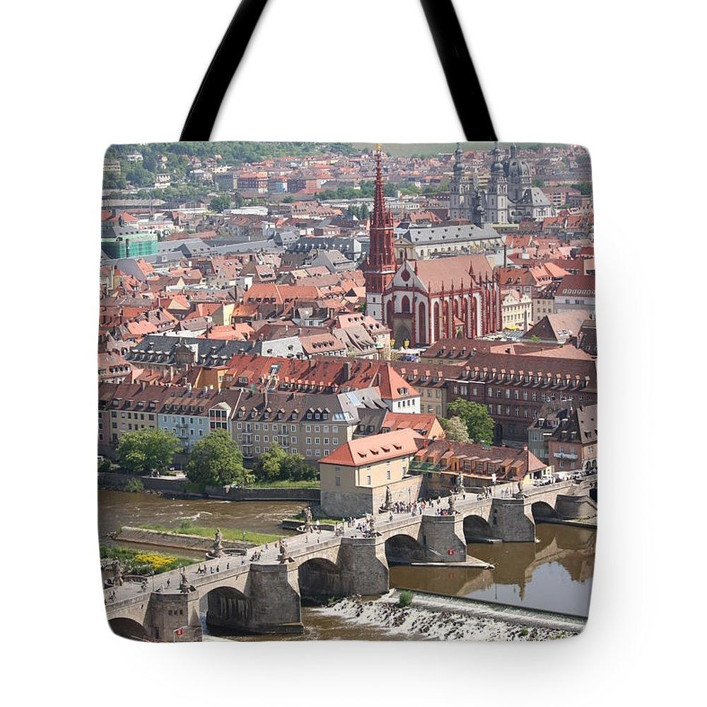 Churches Tote Bag featuring the photograph View Onto The Town Of Wuerzburg - Germany by Christiane Schulze Art And Photography