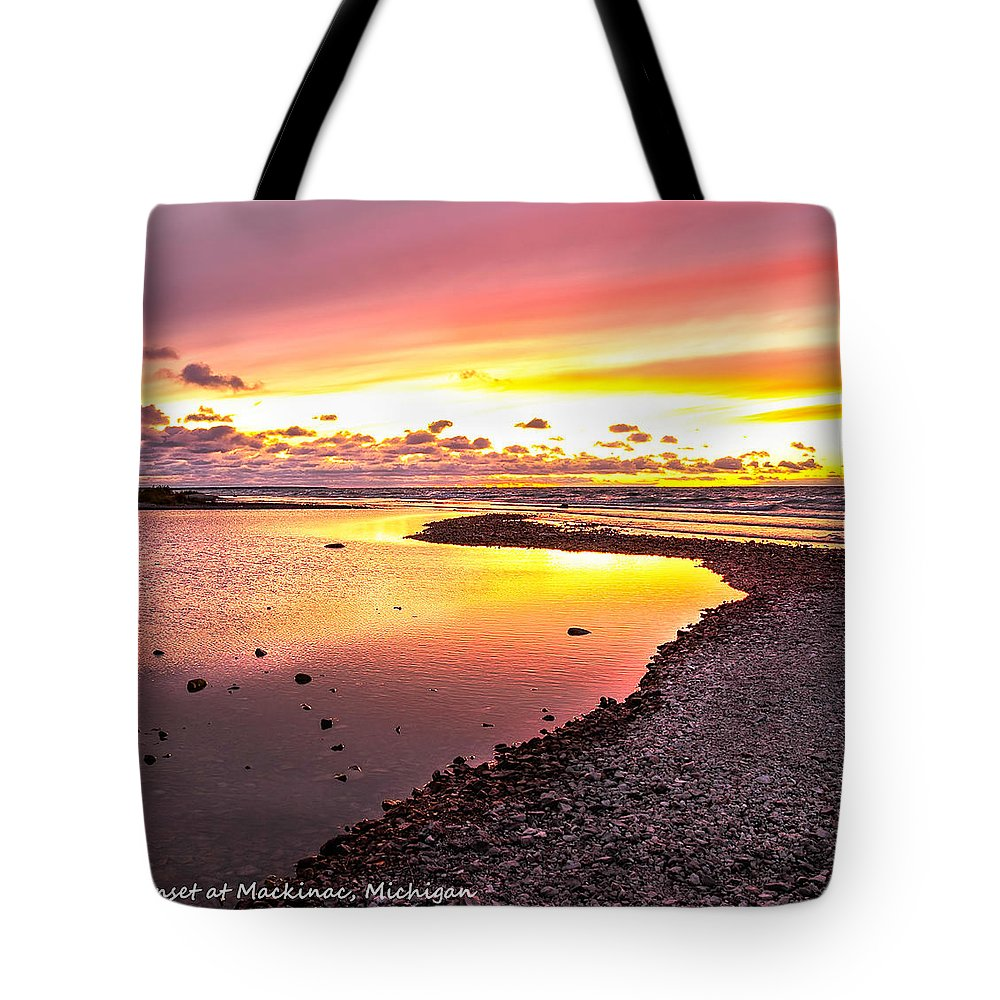 View Opposite Of Mackinac Bridge From Mcgulpin Point At Sunset. Tote Bag featuring the photograph View Opposite Of Mackinac Bridge From Mcgulpin Point At Sunset. by LeeAnn McLaneGoetz McLaneGoetzStudioLLCcom