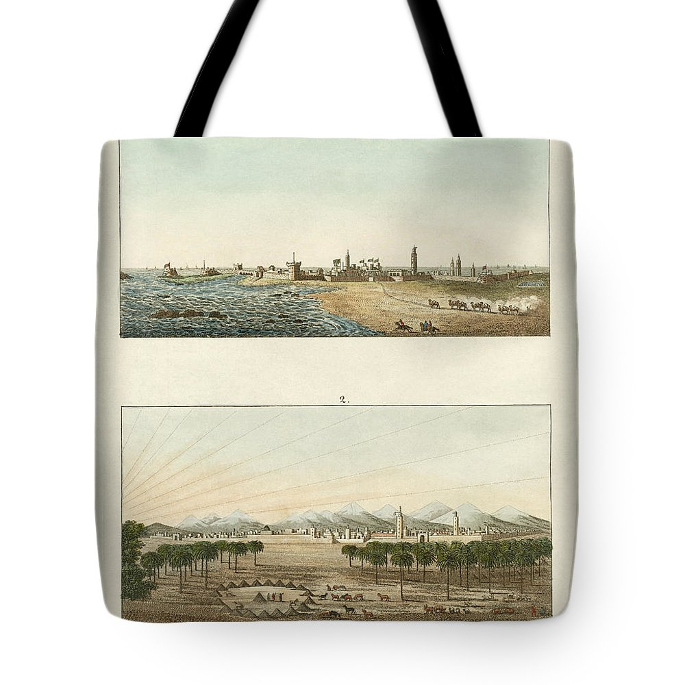 Bertuch Tote Bag featuring the drawing Views Of Africa by Splendid Art Prints
