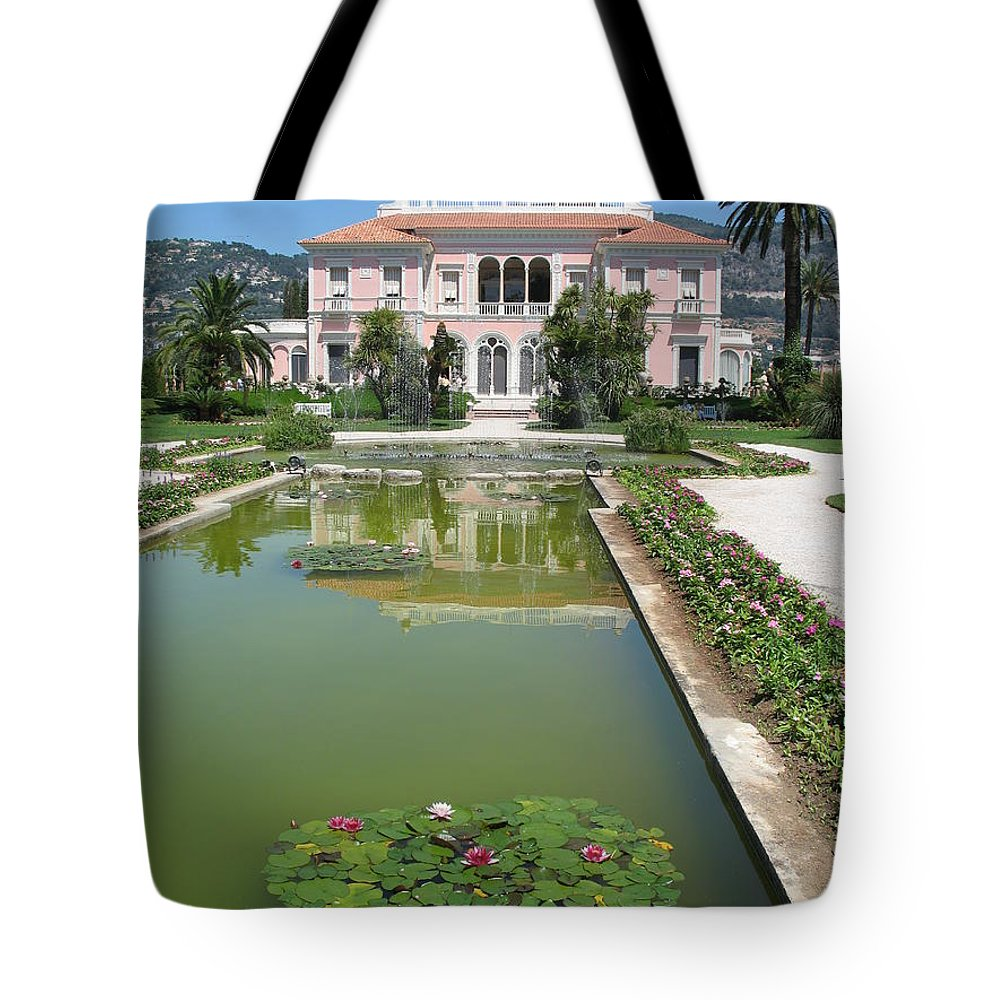 Villa Tote Bag featuring the photograph Villa Ephrussi De Rothschild With Reflection by Christiane Schulze Art And Photography