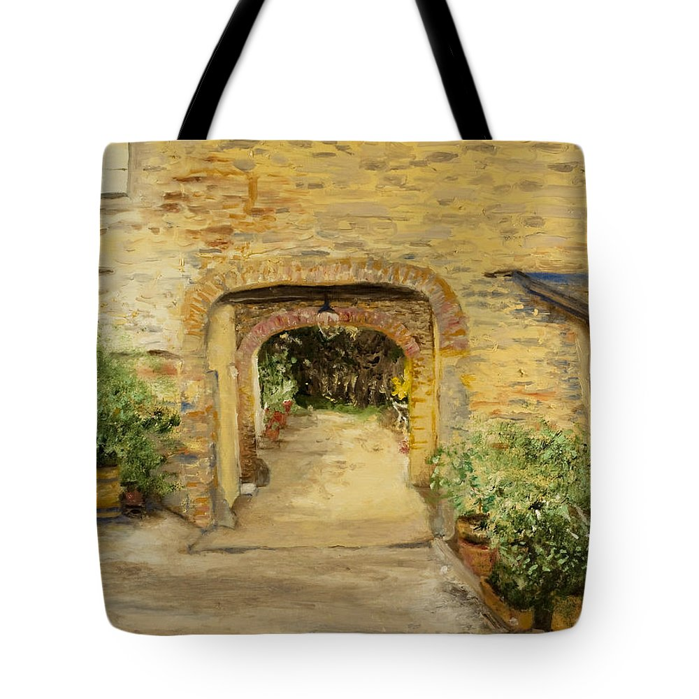 Oil Painting Tote Bag featuring the painting Villa In Italy by Kathy Knopp