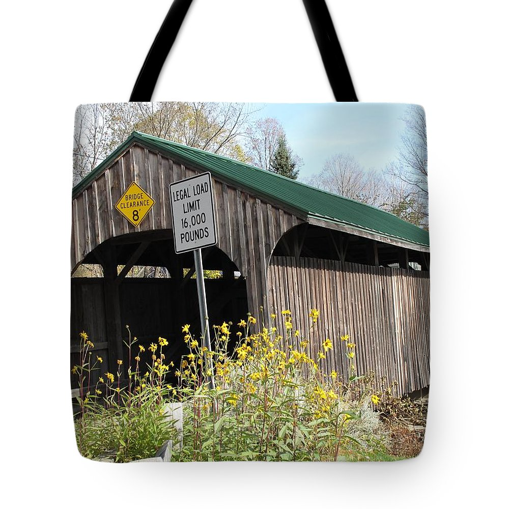 Covered Bridge Tote Bag featuring the photograph Village Bridge Waterville Vermont by Barbara McDevitt