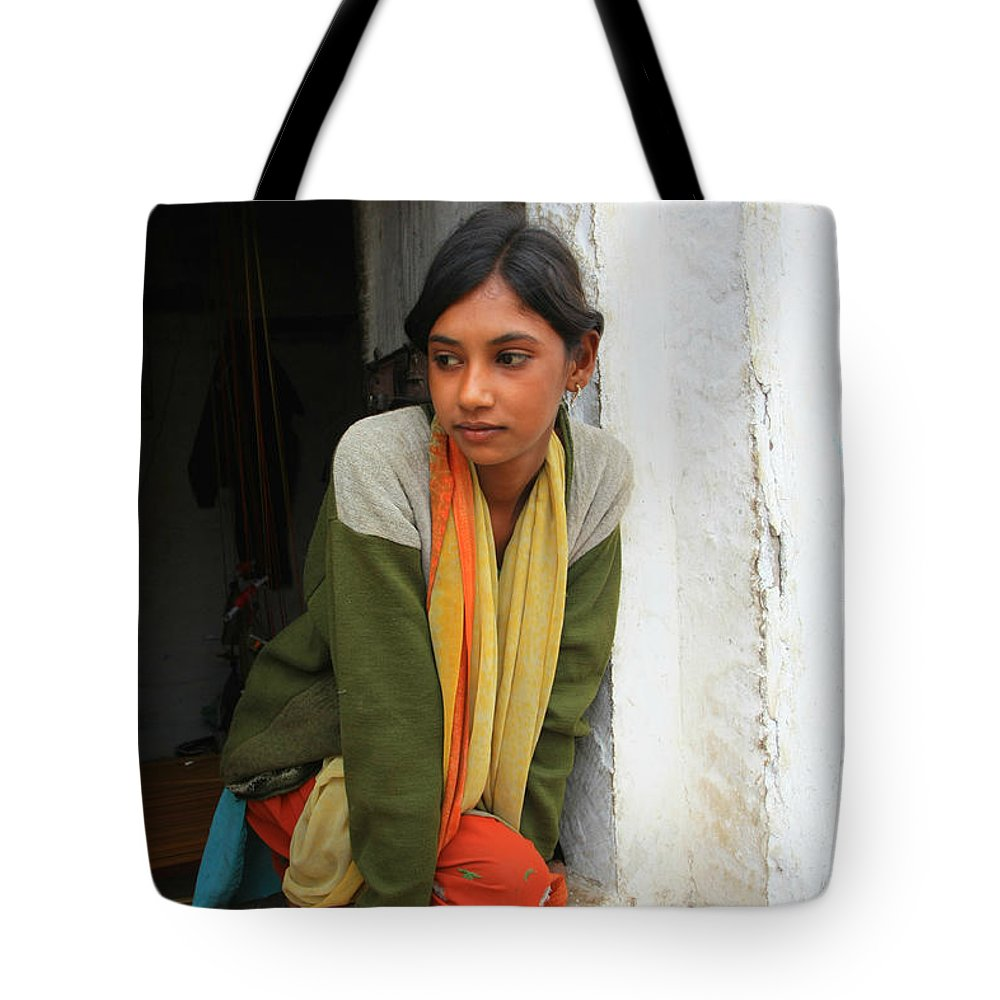 Young Girl Tote Bag featuring the photograph Village Girl India by Amanda Stadther
