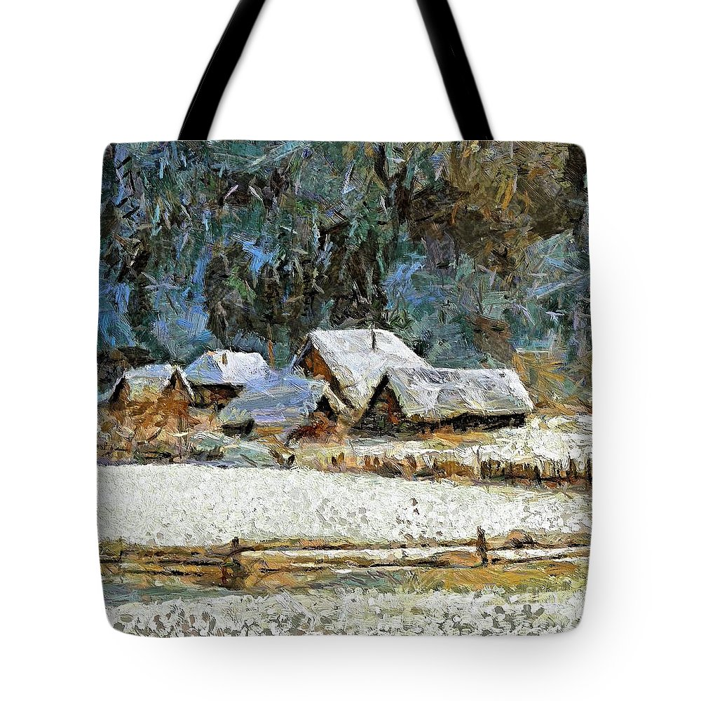 Landscapes Tote Bag featuring the painting Village In Winter by Dragica Micki Fortuna