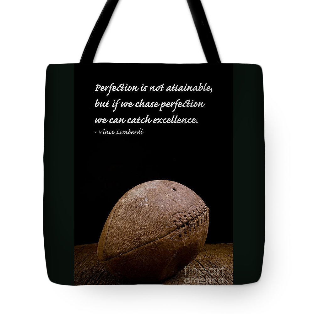 Football Tote Bag featuring the photograph Vince Lombardi on Perfection by Edward Fielding