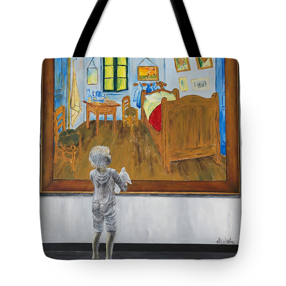 Painting Of Tote Bag featuring the painting Vincent by Nik Helbig