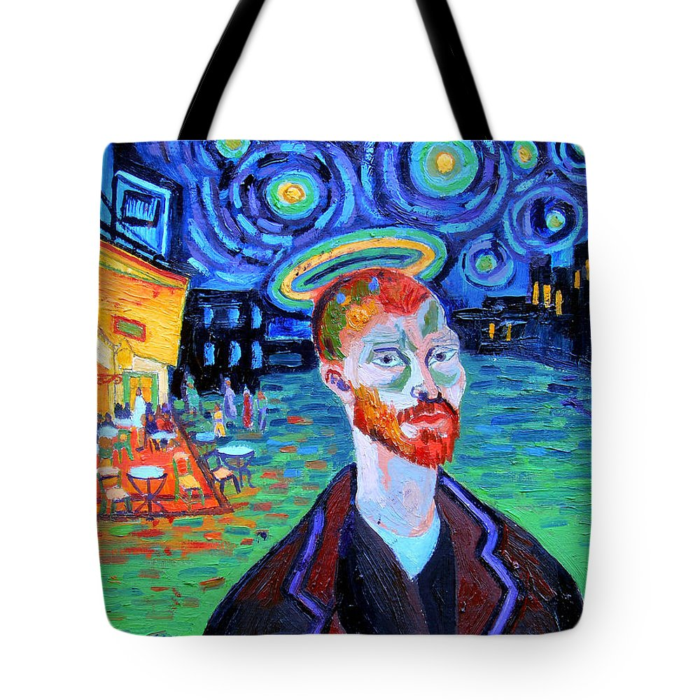 Vincent Van Gogh Tote Bag featuring the painting Vincents' Yellow Cafe by Genevieve Esson