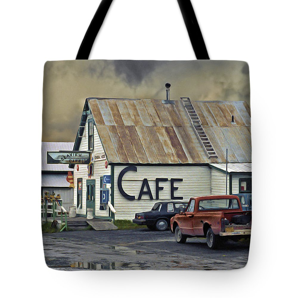 Alaska Tote Bag featuring the photograph Vintage Alaska Cafe by Ron Day