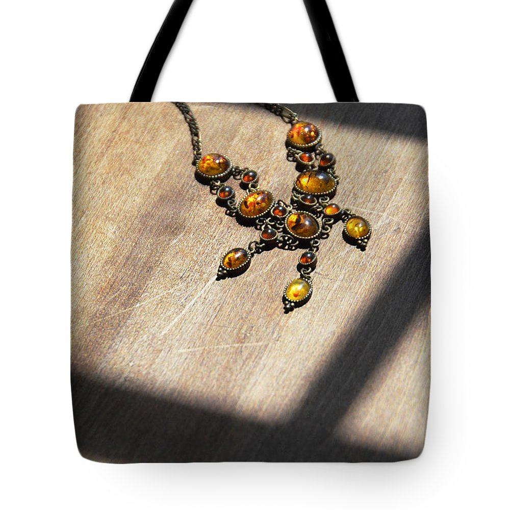 Necklace Tote Bag featuring the photograph Vintage Amber Necklace by Jill Battaglia