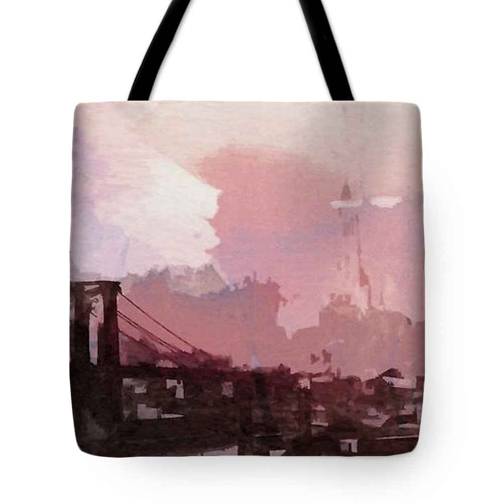 Brooklyn Bridge New York Nyc Ny City Cityscape Usa Skyscraper Abstract Painting Digital Art Manhattan Symbol Sight 1930 Vintage America Tote Bag featuring the painting Vintage America Brooklyn 1930 by Steve K