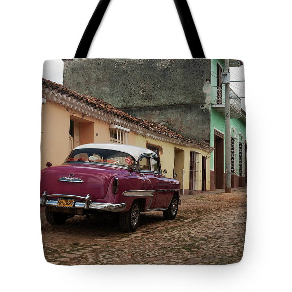 Latin America Tote Bag featuring the photograph Vintage American Cars In Cuba by John Elk Iii