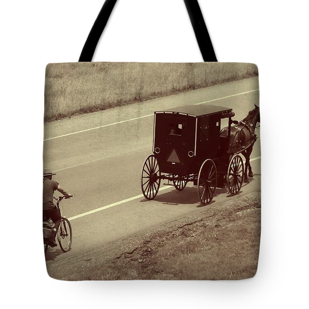 Amish Horse And Buggy In Ohio Tote Bag featuring the photograph Vintage Amish Buggy And Bicycle by Dan Sproul