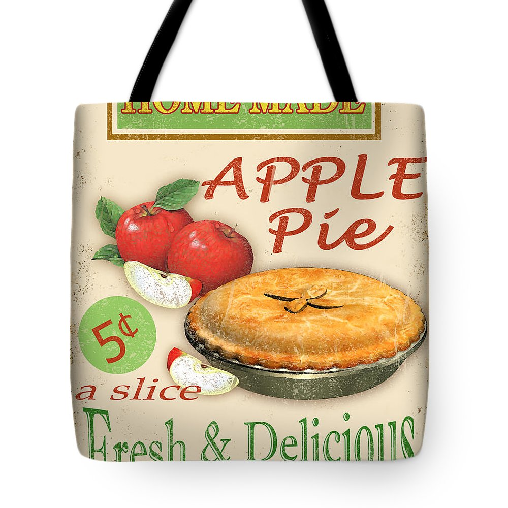 Jean Plout Tote Bag featuring the digital art Vintage Apple Pie Sign by Jean Plout