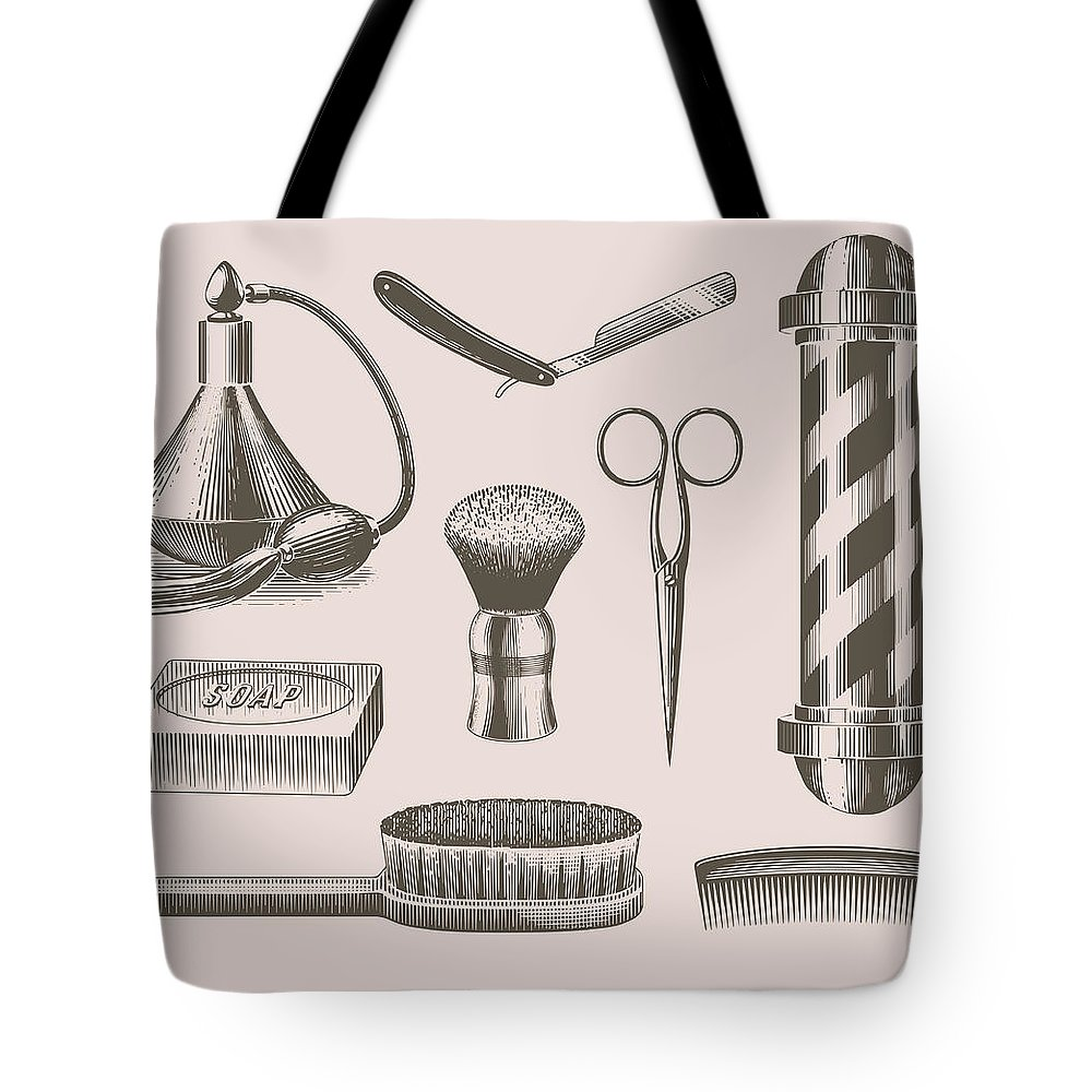 English Culture Tote Bag featuring the digital art Vintage Barbershop Objects by Darumo