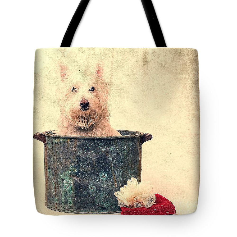 Dog Tote Bag featuring the photograph Vintage Bathtime by Edward Fielding