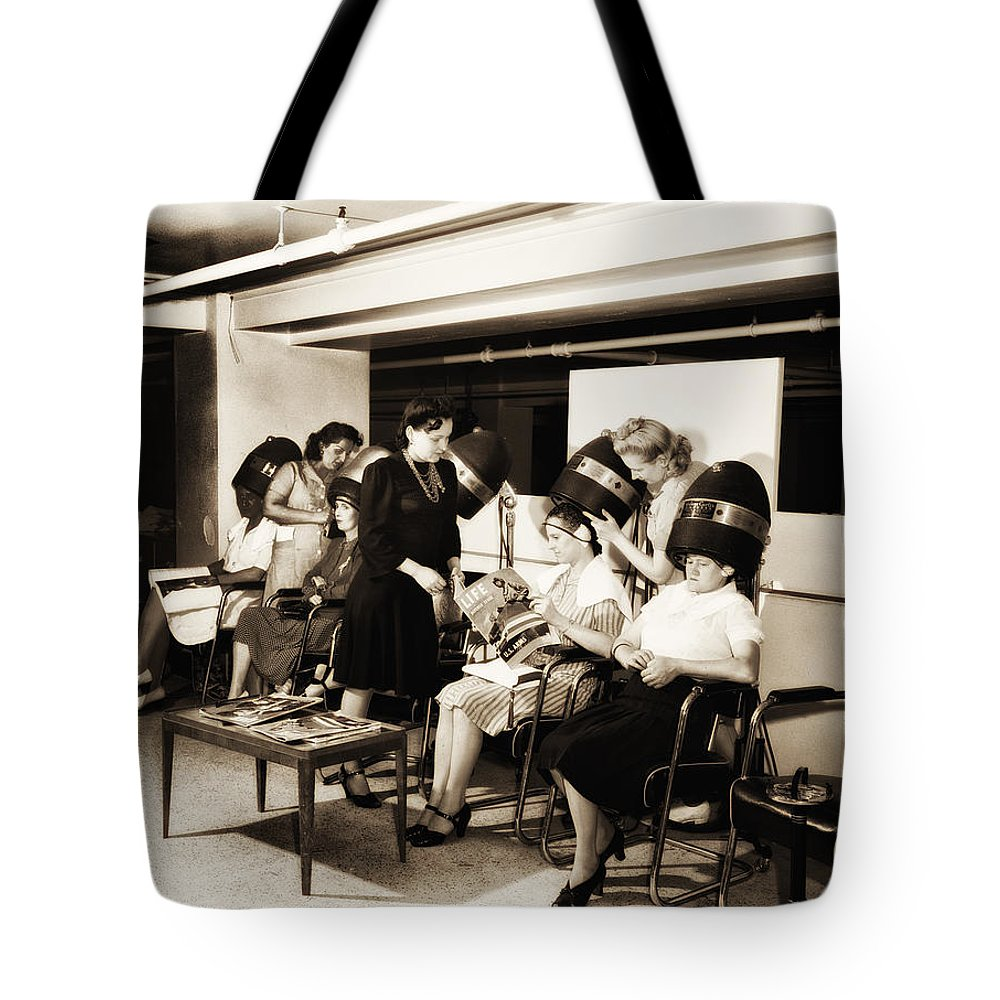 Vintage Tote Bag featuring the photograph Vintage Beauty Parlor by Bill Cannon