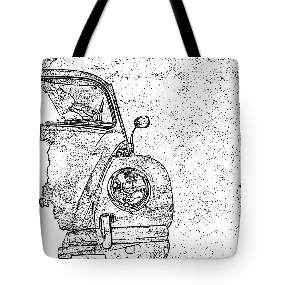 Vw Bug Tote Bag featuring the digital art Vintage Beetle by Jon Neidert