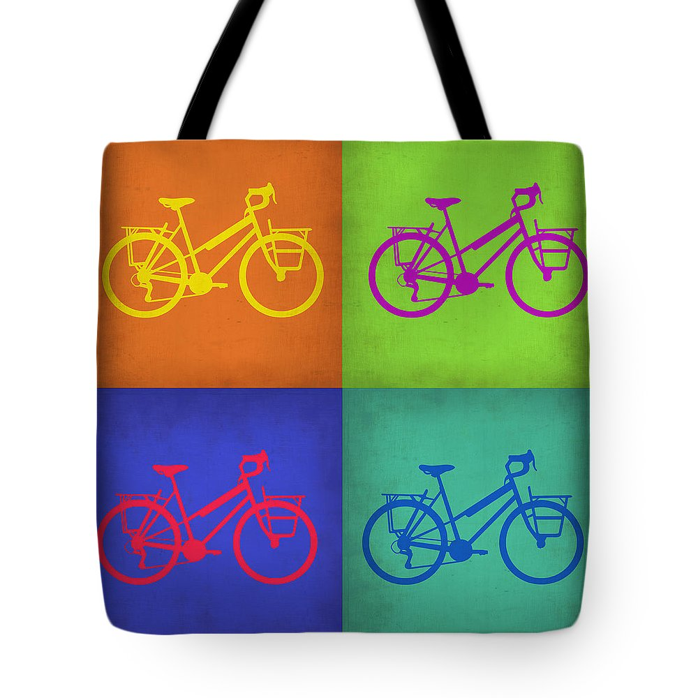 Tote Bag featuring the painting Vintage Bicycle Pop Art 1 by Naxart Studio