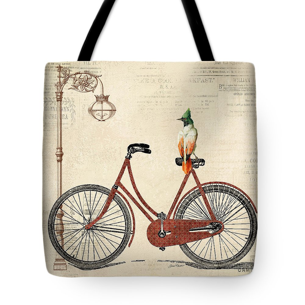 Jean Plout Tote Bag featuring the digital art Vintage Bike-a by Jean Plout