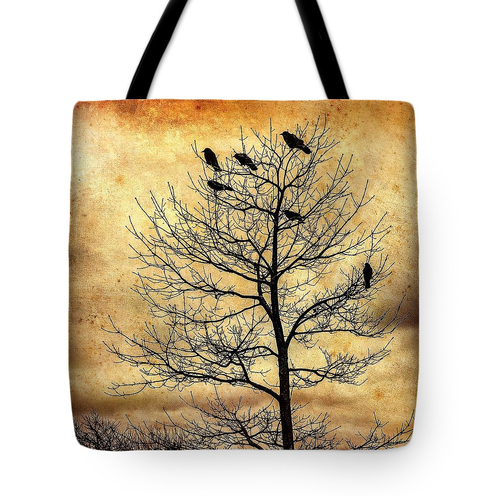 Cloudy Day Tote Bag featuring the photograph Vintage Blackbirds On A Winter Tree by Roxy Hurtubise