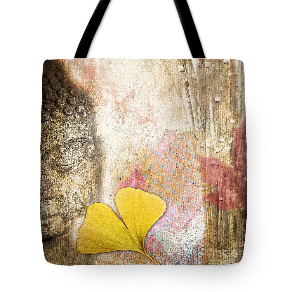 Buddha Tote Bag featuring the photograph Vintage Buddha And Ginkgo by Delphimages Photo Creations