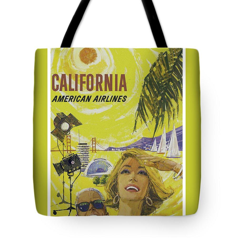 California Tote Bag featuring the digital art Vintage California Travel Poster by Joy McKenzie