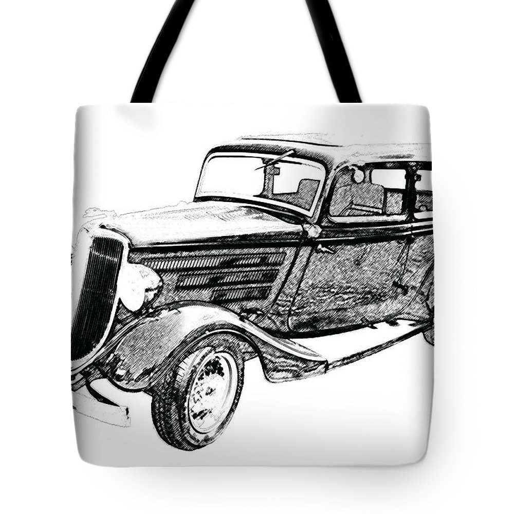 Ford tote bag featuring the photograph vintage car art ford bw pencil sketch by lesa