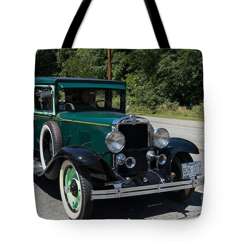 Bowen Island Tote Bag featuring the digital art Vintage Cars Green Chevrolet by Carol Ailles