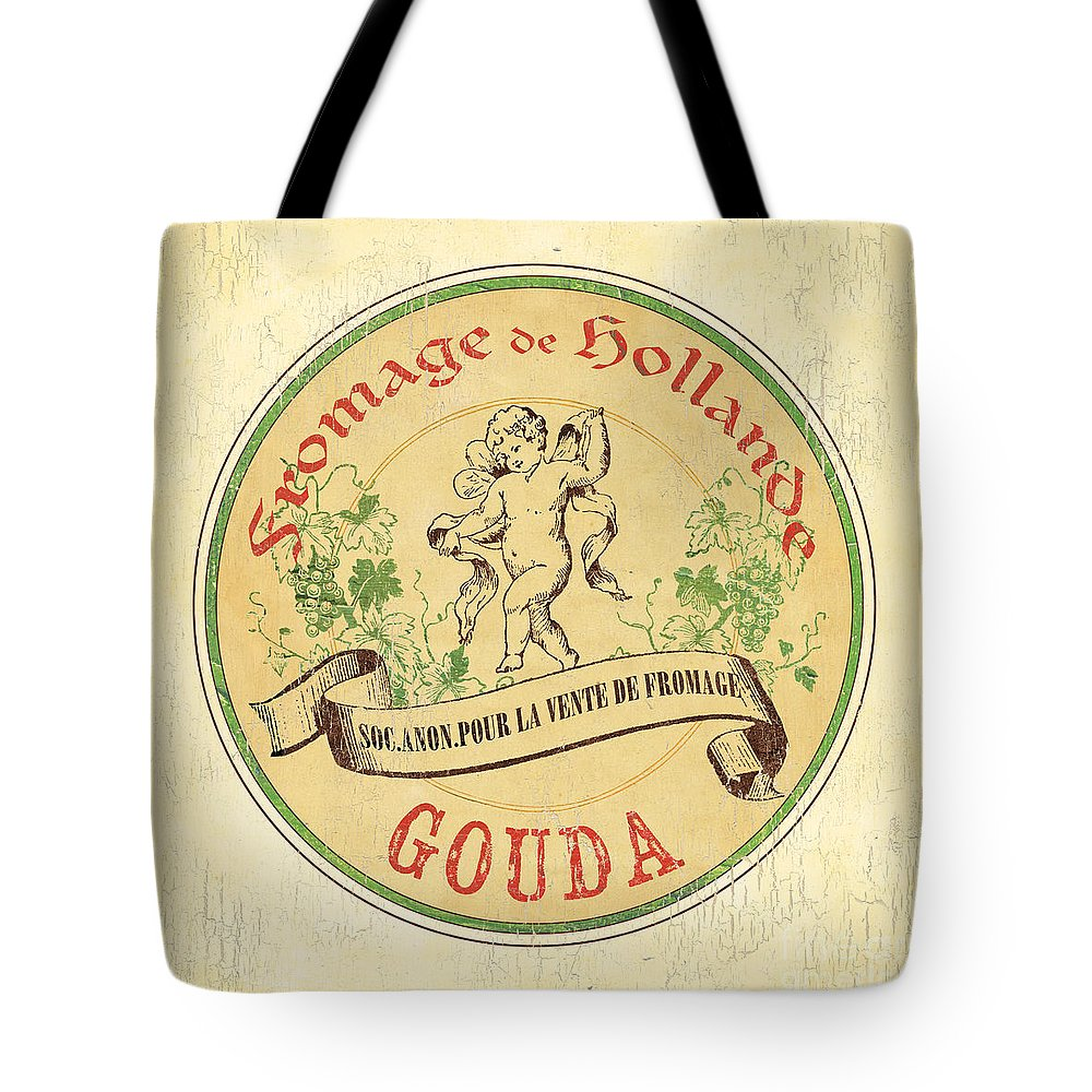 Cuisine Tote Bag featuring the painting Vintage Cheese Label 2 by Debbie DeWitt