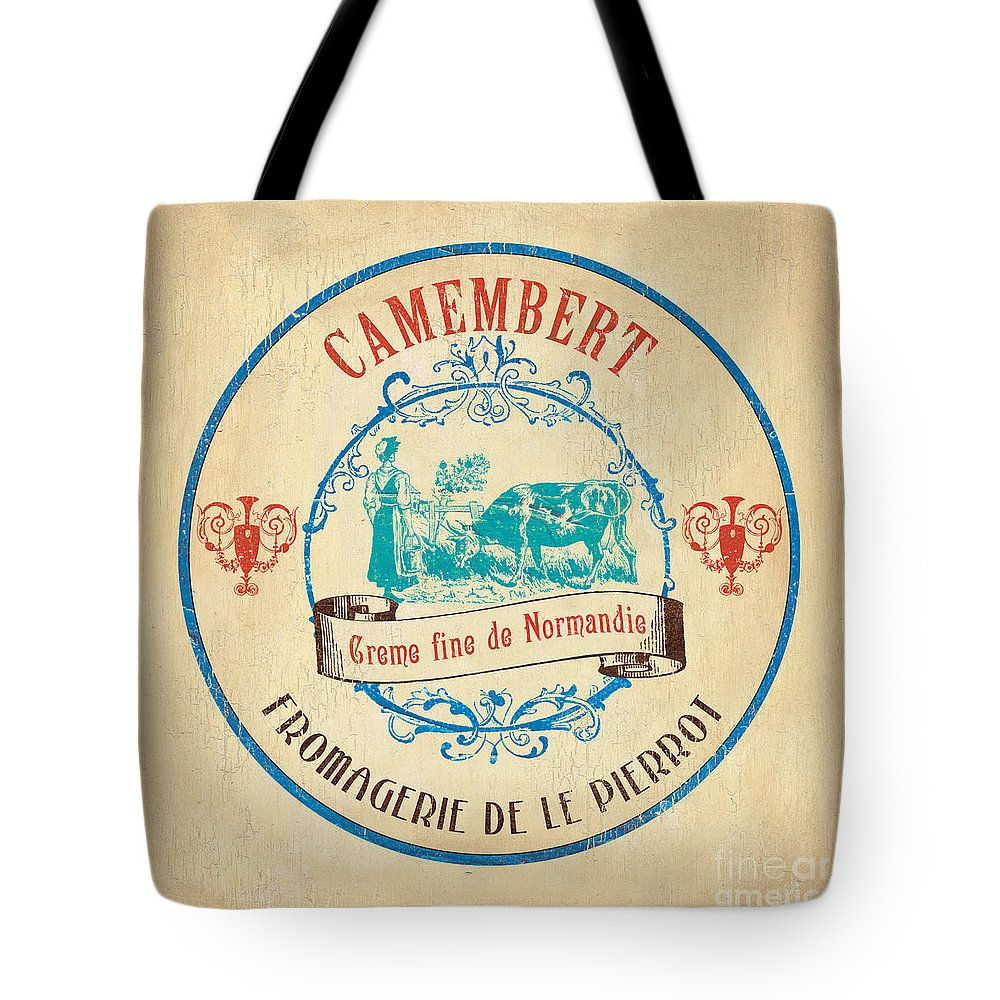 Cuisine Tote Bag featuring the painting Vintage Cheese Label 3 by Debbie DeWitt