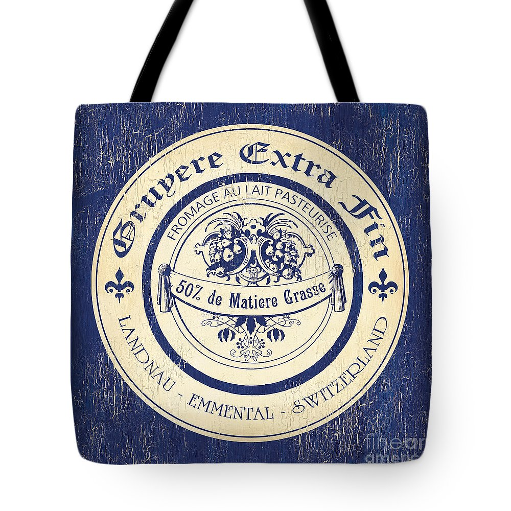Cuisine Tote Bag featuring the painting Vintage Cheese Label 5 by Debbie DeWitt