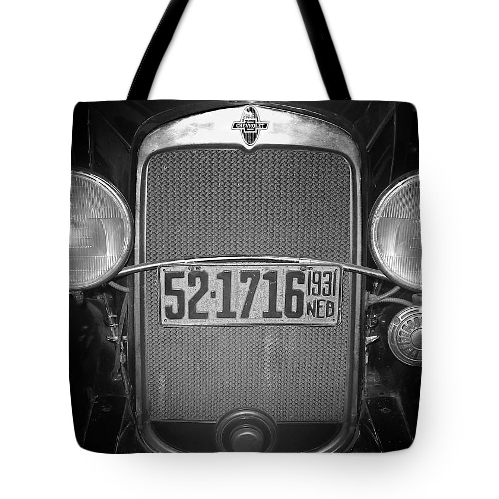 Antique Tote Bag featuring the photograph Vintage Chevrolet Grill by David and Carol Kelly