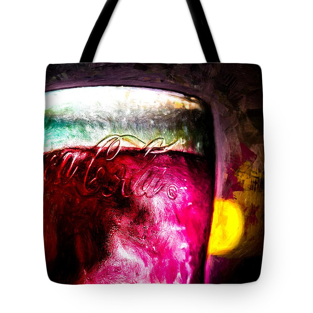 Coke Tote Bag featuring the painting Vintage Coca Cola Glass With Ice by Bob Orsillo