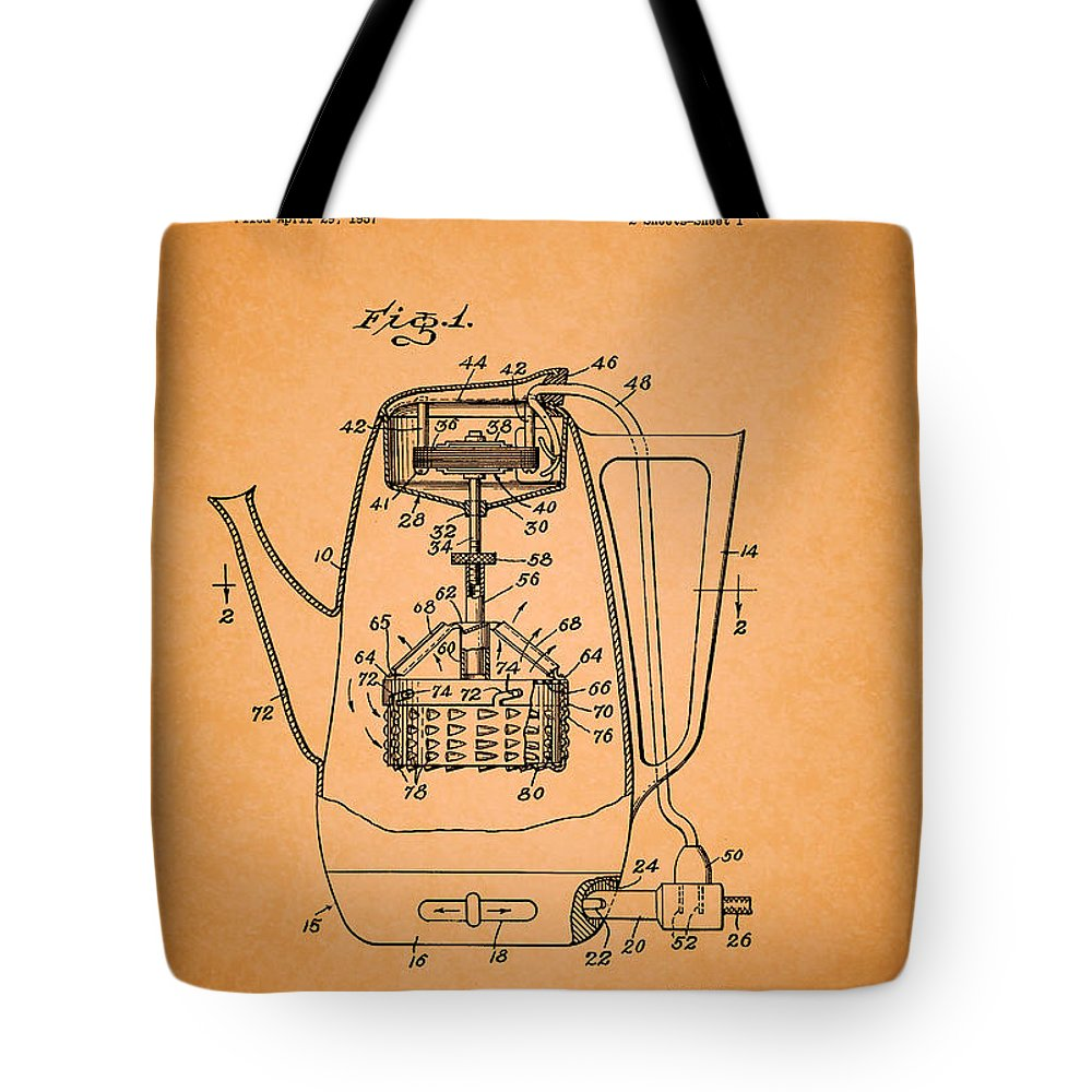 Patent Tote Bag featuring the drawing Vintage Coffee Maker Patent 1958 by Mountain Dreams