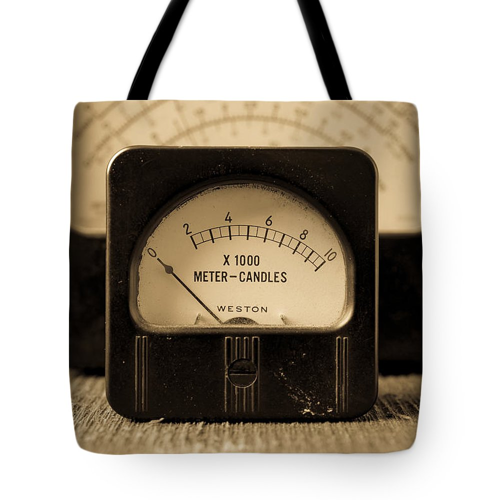 Power Tote Bag featuring the photograph Vintage Electrical Meters by Edward Fielding