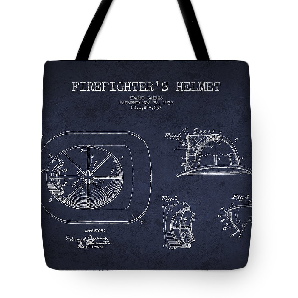 Firefighter Tote Bag featuring the digital art Vintage Firefighter Helmet Patent Drawing From 1932 - Navy Blue by Aged Pixel