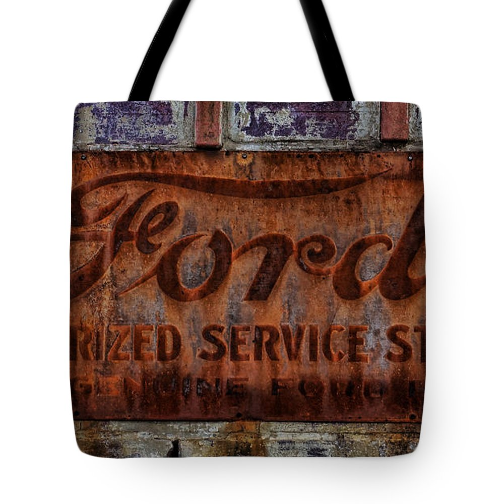 Vintage Tote Bag featuring the photograph Vintage Ford Authorized Service Sign by Alan Hutchins