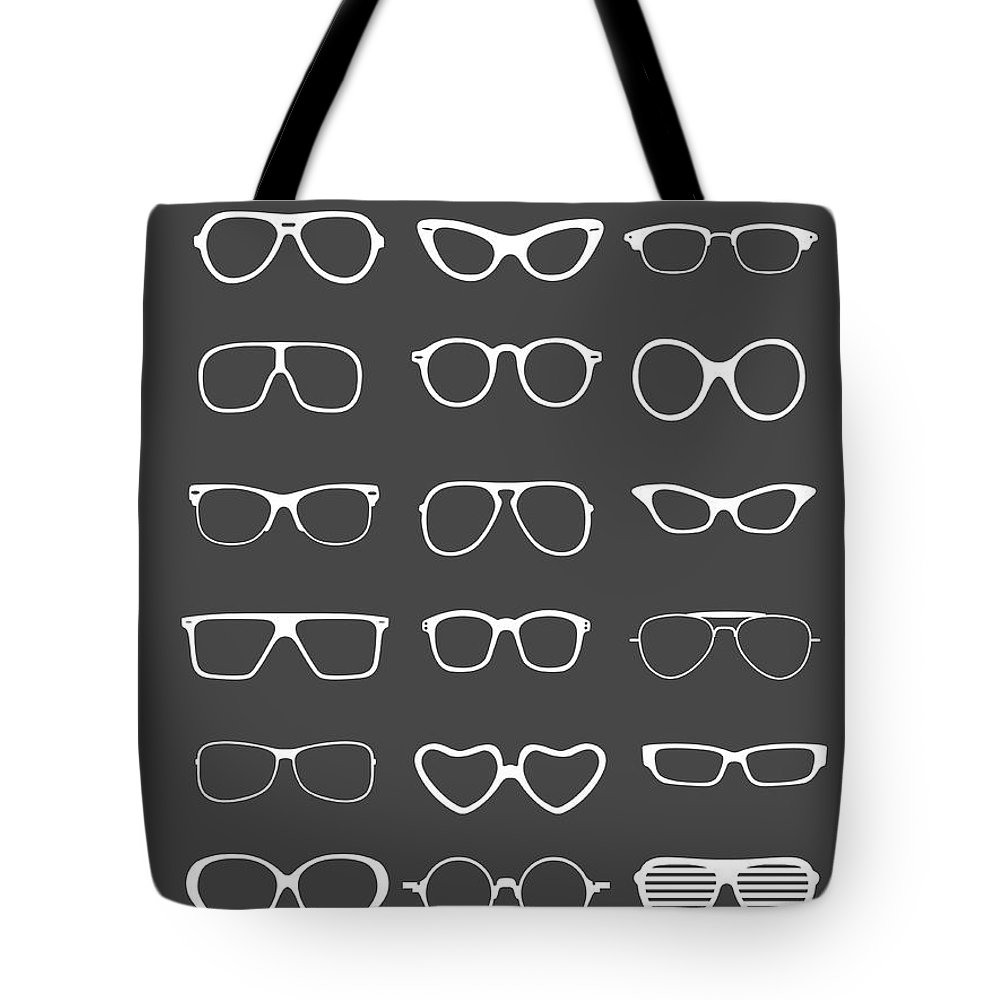 Motivational Tote Bag featuring the digital art Vintage Glasses Poster 2 by Naxart Studio