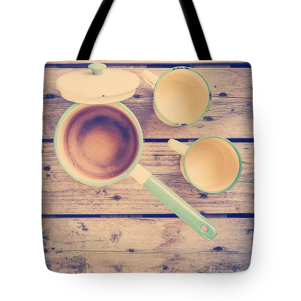 Plate Tote Bag featuring the photograph Vintage Kitchen Filtered by Tim Hester