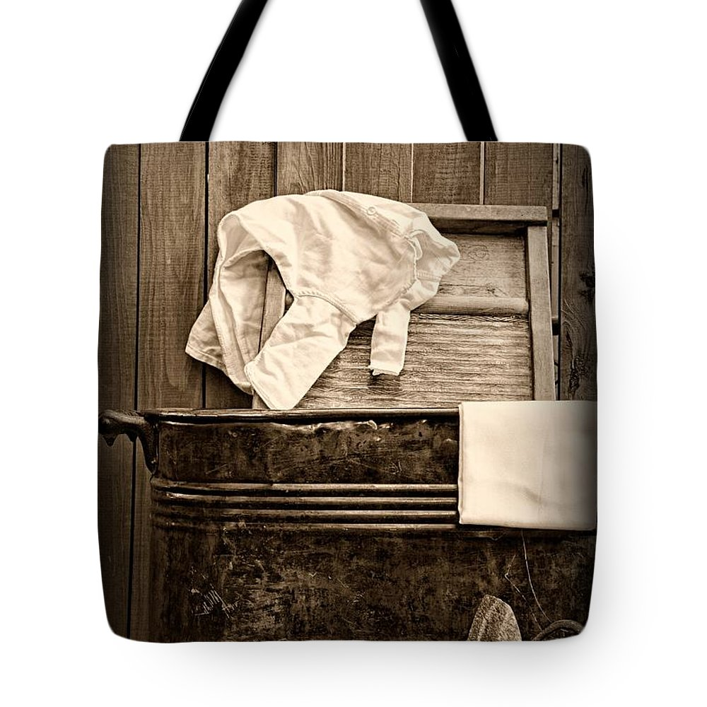 Paul Ward Tote Bag featuring the photograph Vintage Laundry Room In Sepia	 by Paul Ward